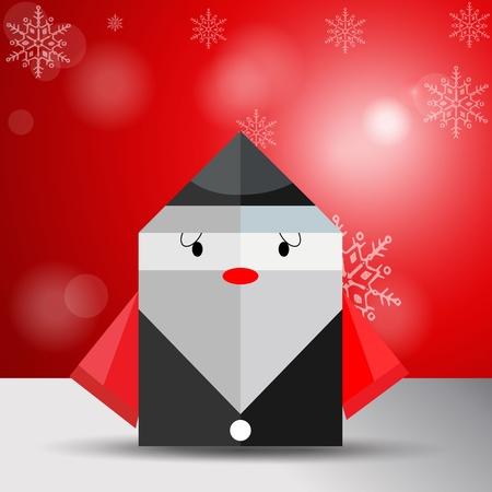 craft man: Vector origami Christmas old man