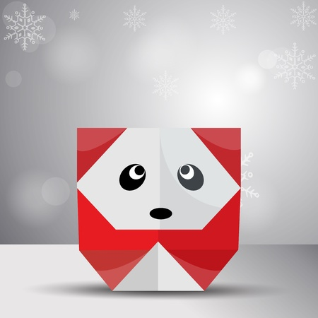 one panda: Vector origami red panda