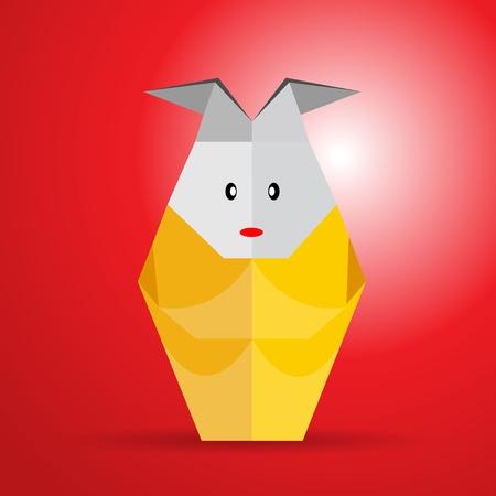 Vector origami yellow rabbit Vector
