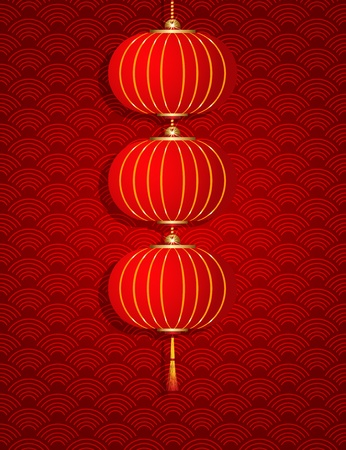 chinese new year illustration: Vector Chinese Hanging Lantern on texture background Illustration