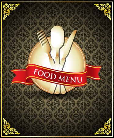 plate of food: Vector food menu cover