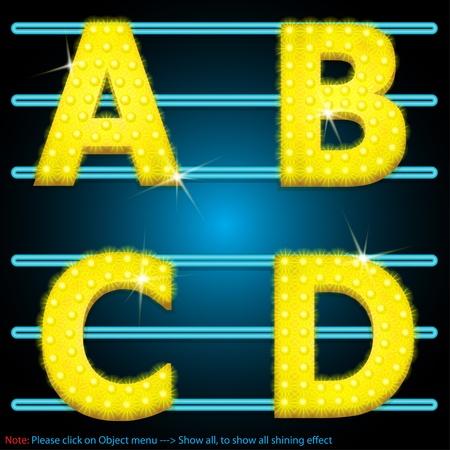 LED Shining lamps alphabet Vector