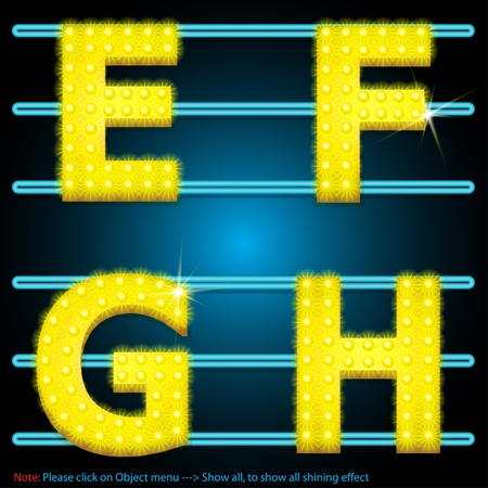 LED Shining lamps alphabet Vector