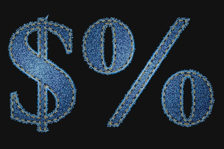 jeans texture: Vector jean fabric letters