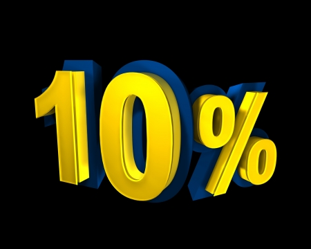 10 percent rendered in gold 3D number photo