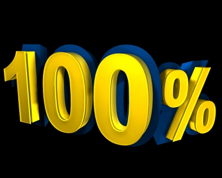 100 percent rendered in gold 3D number photo