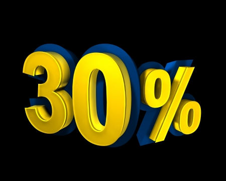 30 percent rendered in gold 3D number photo