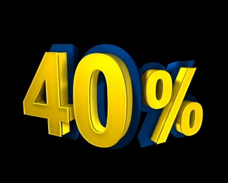 40 percent rendered in gold 3D number photo