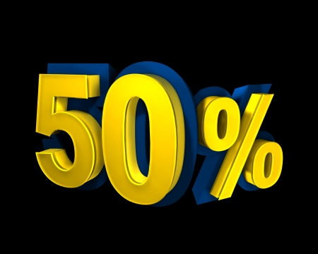 50 percent rendered in gold 3D number photo