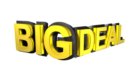 deal in: Big deal rendered in gold 3D number  Stock Photo