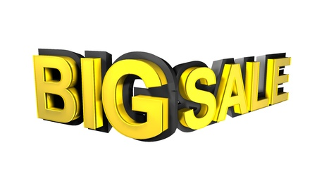 Big sale rendered in gold 3D number  photo