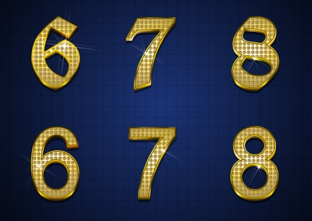 Luxurious numbers designed with gold diamonds Vector