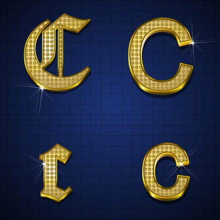 Luxurious alphabets designed with gold diamonds Vector