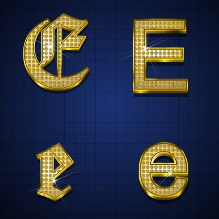 golden font: Luxurious alphabets designed with gold diamonds