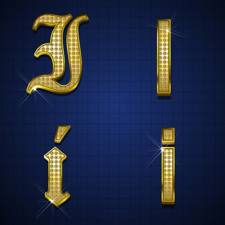 Luxurious alphabets designed with gold diamonds Stock Vector - 17598159