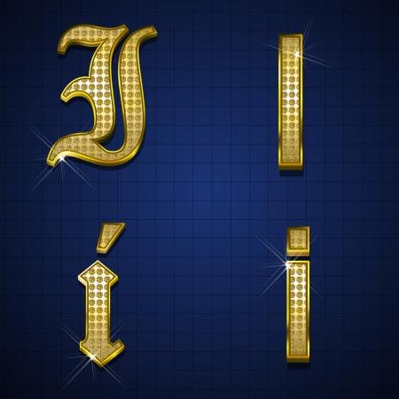 Luxuus alphabets designed with gold diamonds Stock Vector - 17598159
