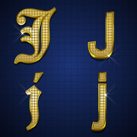 Luxurious alphabets designed with gold diamonds Stock Vector - 17598162