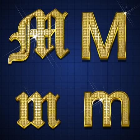 metaal: Luxe alfabetten ontworpen met goud diamanten