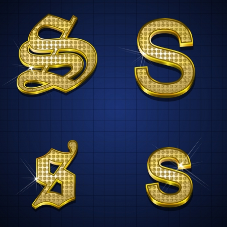 Luxuus alphabets designed with gold diamonds Stock Vector - 17598170