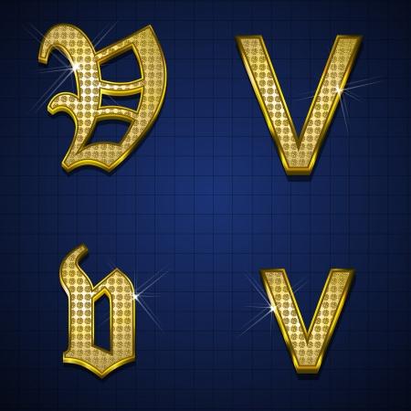 Luxuus alphabets designed with gold diamonds Stock Vector - 17598176