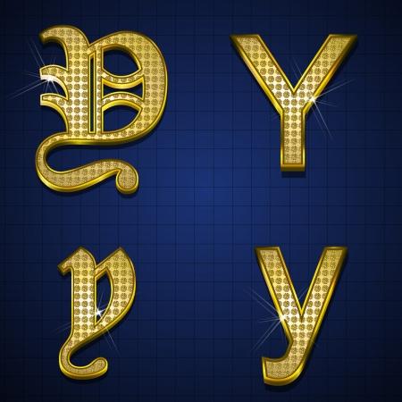 Luxuus alphabets designed with gold diamonds Stock Vector - 17598172