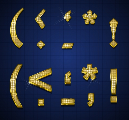Luxurious characters designed with gold diamonds Vector