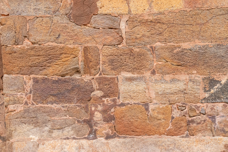 Texture of the old masonry walls made of natural stones and bricks Banco de Imagens
