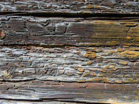 侵食されたウッド テクスチャ背景のクローズ アップ表示 写真素材