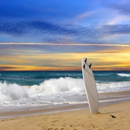 Surfboard on Fuerteventura beach  photo