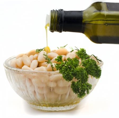 leguminosas: Bens ensalada y aceite de oliva
