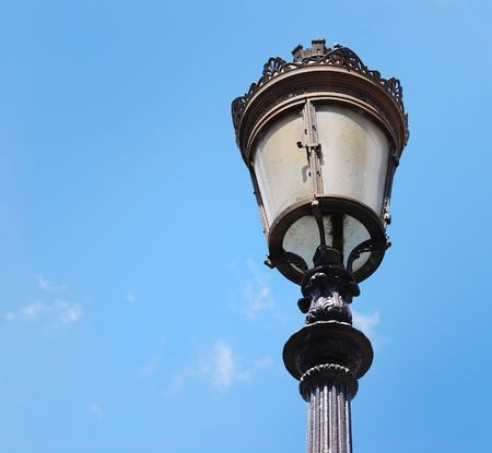xx century: A typical Parisian lamppost symbolised the beginning of the electricity in Paris in the XX� century.