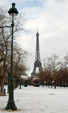 Eiffel tower in winter photo