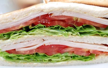 plato del buen comer: portarretrato de dos s�ndwiches en un plato blanco