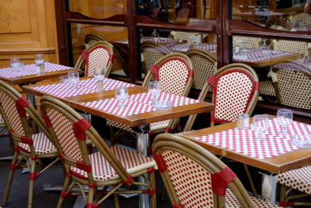 street view of a typical cafe terrace, Paris, France
