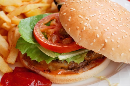 close-up of delicious american burger with french fries photo