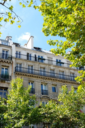 A view of the well-known haussmann style building in Paris  This style of building is the most popular building s style of Paris   photo