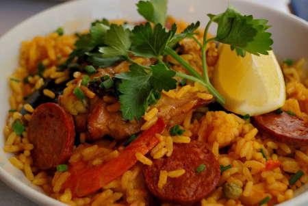 closeup of prawn with rice   traditional spanish food paella  photo