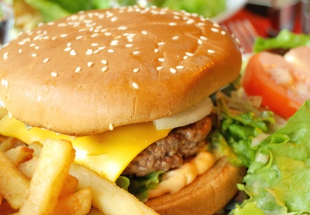 steak sandwich: delicious american cheese burger with fresh lettuce and fries