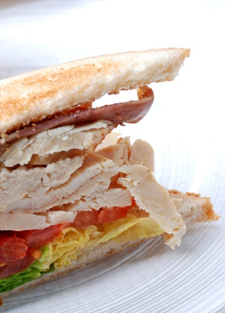 Sandwich with tomato, chicken, cheese and lettuce  photo