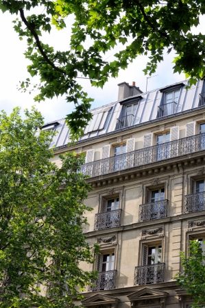 A view of the well-known haussmann style building in Paris  This style of building is the most popular building s style of Paris
