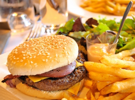 cheeseburger with fries: delicious american cheese burger with fresh lettuce and fries
