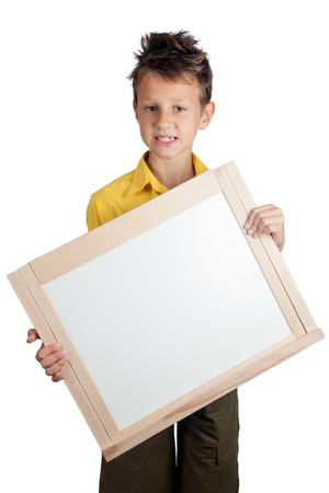 grimace: Cute boy holding white board and  grimace isolated on white