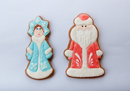 snegurochka: russian Christmas characters Ded Moroz Father Frost and Snegurochka Snow Maiden cookies isolated on white