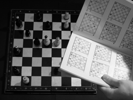 Hand holding book about chess and chessboard behind it photo