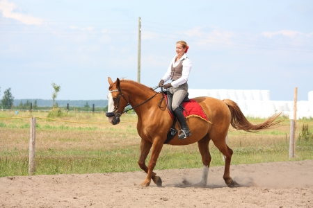 Beautiful young blonde woman riding trotting chestnut horse Stock Photo - 16380730