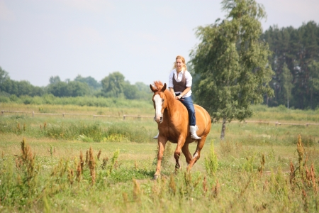 Beautiful blonde woman riding horse bareback and without bridle photo