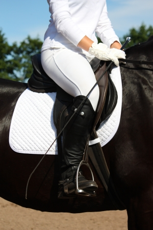 Dressage rider close up during competition photo