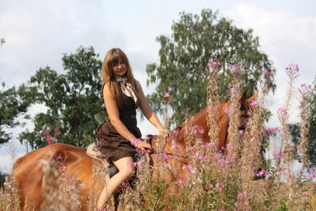 Beautiful teenager girl riding brown horse at the field of flowers Stock Photo - 19720305