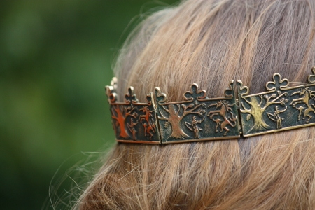 medieval woman: Close up of person with medieval crown on head