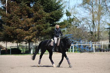 Blonde woman trotting on beautiful latvian breed horse photo